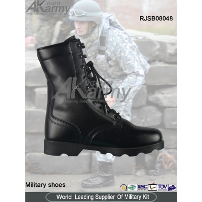Long Black Leather Military   Boots