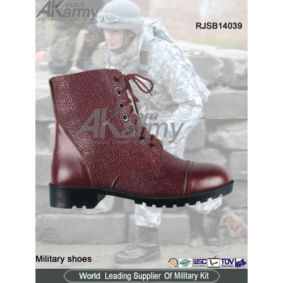 Red  Embossed Military Boots
