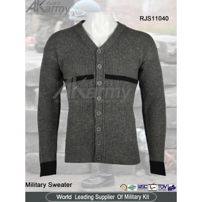 Wool Cardigan Military Sweater