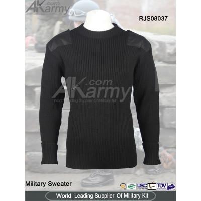 Wool/Acrylic Black  Round-neck Sweater