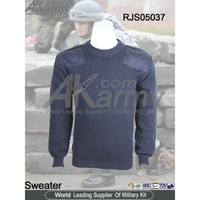 Navy Nylon/Wool military commando sweater