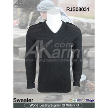 Wool/Acrylic Black Army V Neck Commando Sweater