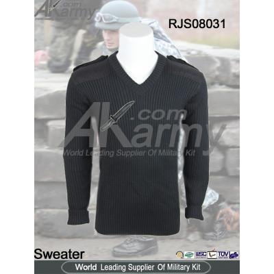 Wool/Acrylic Black Army V Neck Commando Sweater