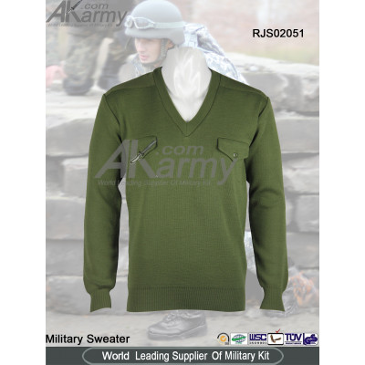 Olive Wool/Acrylic Military Sweater/Pullover