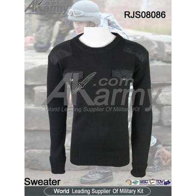 AKMAX black wool commando pullover sweater
