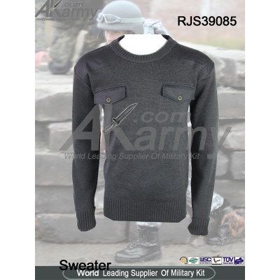 100% wool military pullover commando sweater 2 pockets