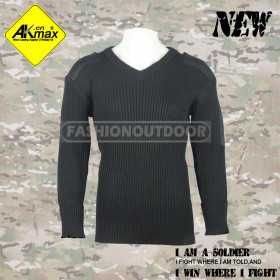 Akmax Wool/Acrylic Mens commando sweater military V neck pullover sweater men fashion sweater