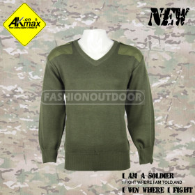 AKMAX olive green 100%wool military sweater for army with warm and high quality
