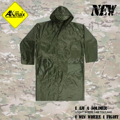 Akmax High quality olive green polyester military raincoat with velcro and zipper army poncho