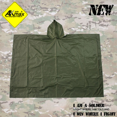 AKMAX High quality olive green polyester military poncho waterproof poncho for US army