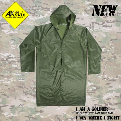 AKMAX High quality olive green polyester raincoat military poncho for camping rain jacket