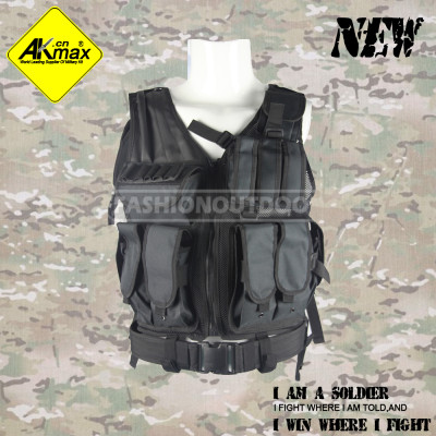 Akmax 600D polyester oxford mens black tactical vest outdoor multi-functional army vest military tactical vest
