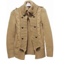Lady's Wool Stand Collar Sweater Cardigan Coat