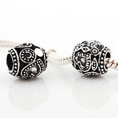 Vnistar antique silver plated european beads PBD1532, with heart pattern engraved, 20pcs per pack