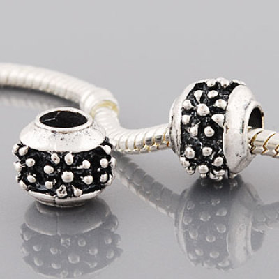 Vnistar silver plated flower stamped european beads wholesale PBD2198-1, sold as 20pcs each pack