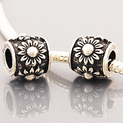 Antique antique silver plated bead PBD795-1, free shipping column metal bead with sunflowers raised, size in 9*11mm, sold as 20pcs each pack