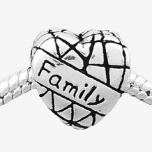 Antique silver plated family stamped heart bead PBD167, free shipping european beads in 12*12mm, sold as 20pcs each pack