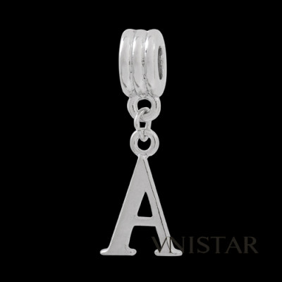 Silver plated letter A dangle beads PBD1665-A, free shipping alphabet european beads A in 12*32mm, sold as 20pcs each pack