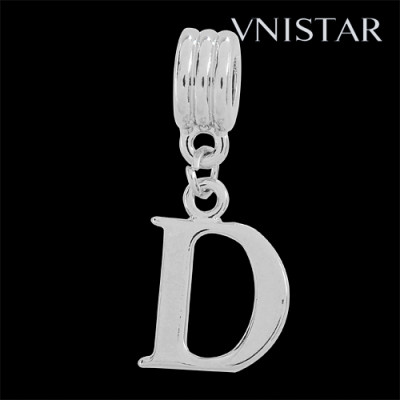 Silver plated letter D dangle beads PBD1665-D free shipping alphabet european beads D in 14*32mm, sold as 20pcs each pack