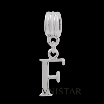 Silver plated letter F dangle beads PBD1665-F free shipping alphabet european beads F in 10*32mm, sold as 20pcs each pack
