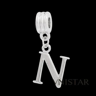 Silver plated letter N dangle beads PBD1665-N free shipping alphabet european beads N in 14*33mm, sold as 20pcs each pack