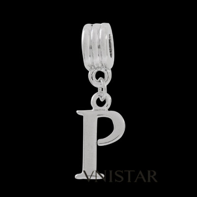Silver plated letter P dangle beads PBD1665-P free shipping alphabet european beads P in 10*31mm, sold as 20pcs each pack