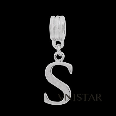 Silver plated letter S dangle beads PBD1665-S free shipping alphabet european beads S in 10*34mm, sold as 20pcs each pack