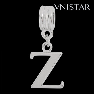 Silver plated letter Z dangle beads PBD1665-Z free shipping alphabet european beads Z in 13*31mm, sold as 20pcs each pack