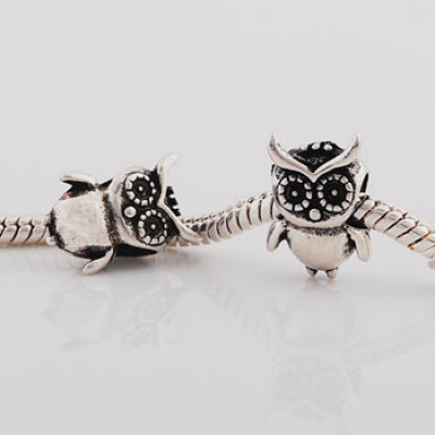 Antique silver plated owl shaped european beads PBD3312, free shipping animal beads in 10*15mm, sold as 20pcs each pack