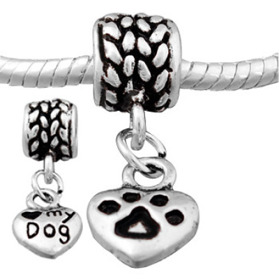 Antique silver plated heart dangle bead PBD152-1, with love my dog &  paw pattern stamped, sold as 20pcs each pack