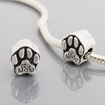 Antique silver plated european style dog paw beads PBD689-1, free shipping beads with