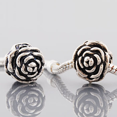 Antique silver plated european style flower rose beads PBD3304, free shipping big hole beads in 11*12mm, sold as 20pcs each pack