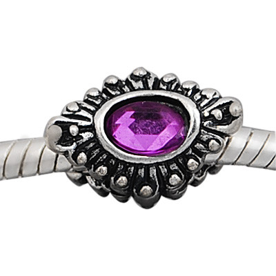Antique silver plated european style eye shaped beads PBD232-5 with purple crystal, free shipping big hole eye beads in 10*15mm, sold as 20pcs each pack