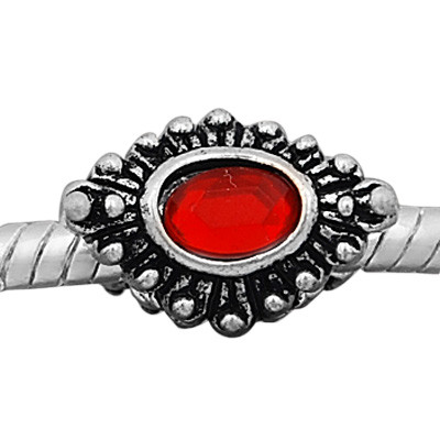 Antique silver plated european style eye shaped beads PBD232-4 with red crystal, free shipping big hole eye beads in 10*15mm, sold as 20pcs each pack