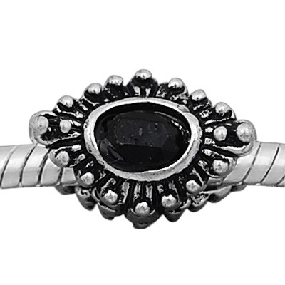 Antique silver plated european style eye shaped beads PBD232-6 with black crystal, free shipping big hole eye beads in 10*15mm, sold as 20pcs each pack