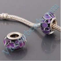 Free Shipping! Silver plated core glass bead PGB546, black bead with purple flowers, size in 9*14mm, sold as 20pcs each pack