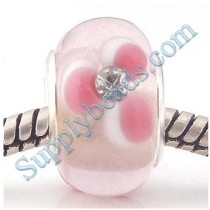 Free Shipping! Silver plated core bulk glass beads PGSS043, pink glass beads with white stones, sold as 20pcs each pack