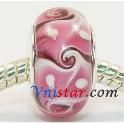 Free Shipping! Vnistar silver plated core glass beads with rosiness color-PGB353 size 9*14mm, sold as 20pcs each pack