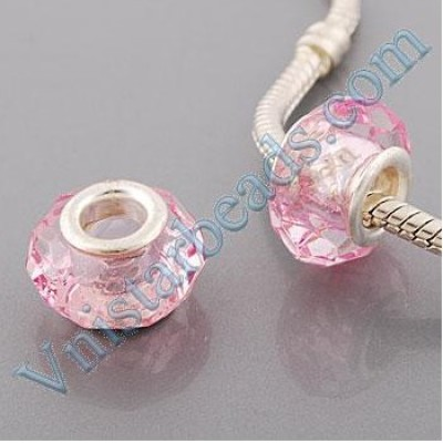Free Shipping! Silver plated core facet resin bead PGB510, pink bead with size in 9*15mm, sold as 60pcs each pack