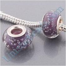 Free Shipping! Vnistar silver plated core orchid glass beads PGB416 with white bubble floating inside, 9*14mm, sold as 20pcs each pack