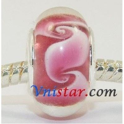 Free Shipping! Vnistar silver plated core glass beads with pink color -PGB333, size in 9*14mm, sold as 20pcs each pack