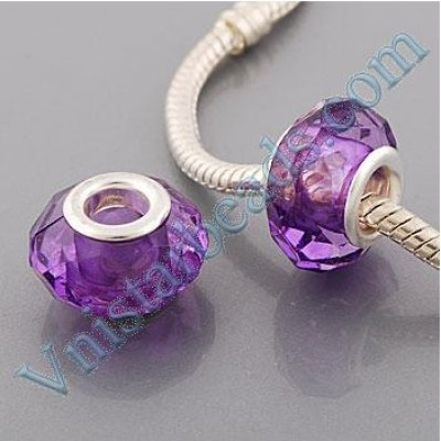 Free Shipping! Silver plated core facet resin bead PGB512, purple bead with size in 9*15mm, sold as 60pcs each pack