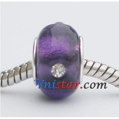 Free Shipping! Silver plated core bulk glass beads PGSS090, purple glass beads with clear crystal, sold as 20pcs each pack