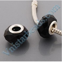 Free Shipping!Silver plated core facet resin bead PGB520, black bead with size in 9*15mm, sold as 60pcs each pack