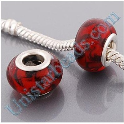 Free Shipping! Vnistar silver plated core red and black mixed glass beads PGB425 with size in 9*14mm, glass dome, sold as 20pcs each pack