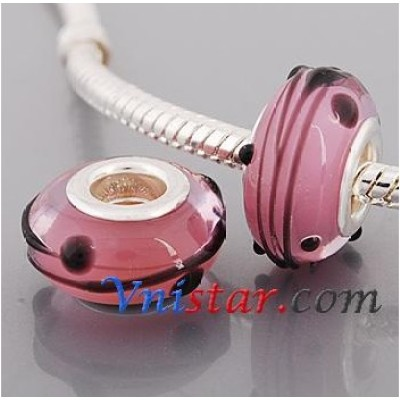 Free Shipping! Silver plated core glass bead PGB576-1, pink bead with size in 9*14mm, sold as 20pcs each pack