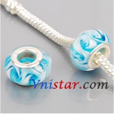 Free Shipping! Silver plated core glass bead PGB562, cyan bead with white swirl, size in 9*14mm  sold as 20pcs each pack