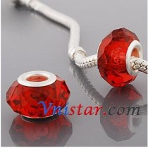 Free Shipping! Silver plated core facet resin bead PGB514, red bead with size in 9*15mm, sold as 60pcs each pack