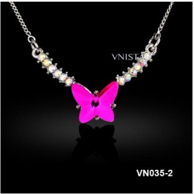 Free shipping! Fashion crystal necklace, necklace chain, butterfly shape pendant, VN035, length is 40cm, sold as 3pcs each pack