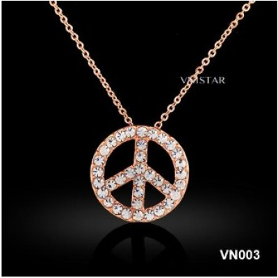 Free shipping! Vnistar tiny chain necklace with peace sign VN003, sold in 3pcs per pack